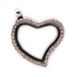 Silver Slanted Gemmed Heart