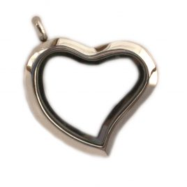 Silver Slanted Heart Locket