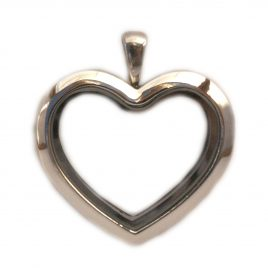Silver Straight Heart Locket