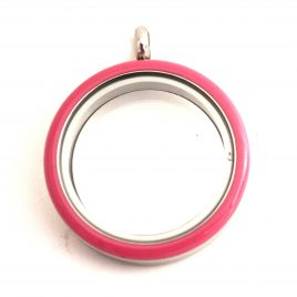 Large Round Pink Enamel Locket