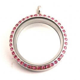 Large Round Locket with Pink Gems