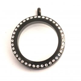 Large Round Black Gemmed Locket