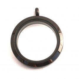 Large Round Black Locket