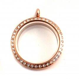 Large Round Rose Gold Gemmed Locket