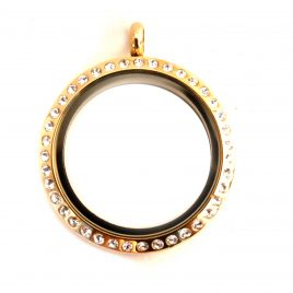 Large Round Gold Gemmed Locket