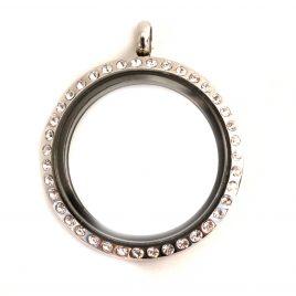 Large Round Silver Gemmed Locket