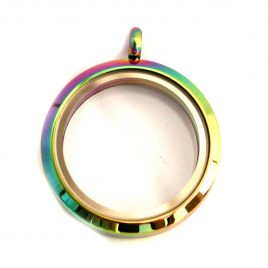 Large Round Rainbow Locket