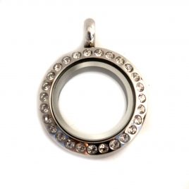 Mini Round Silver Gemmed Locket