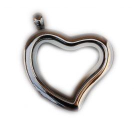 Silver Slanted Heart